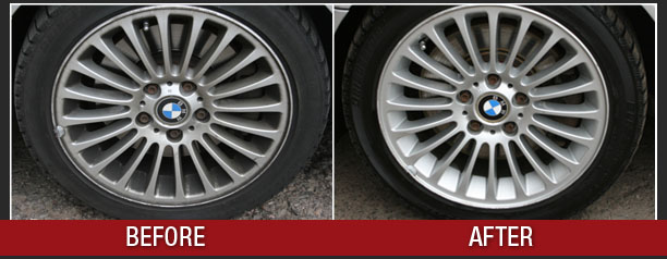 BMW wheels before and after. These wheels now shine!
