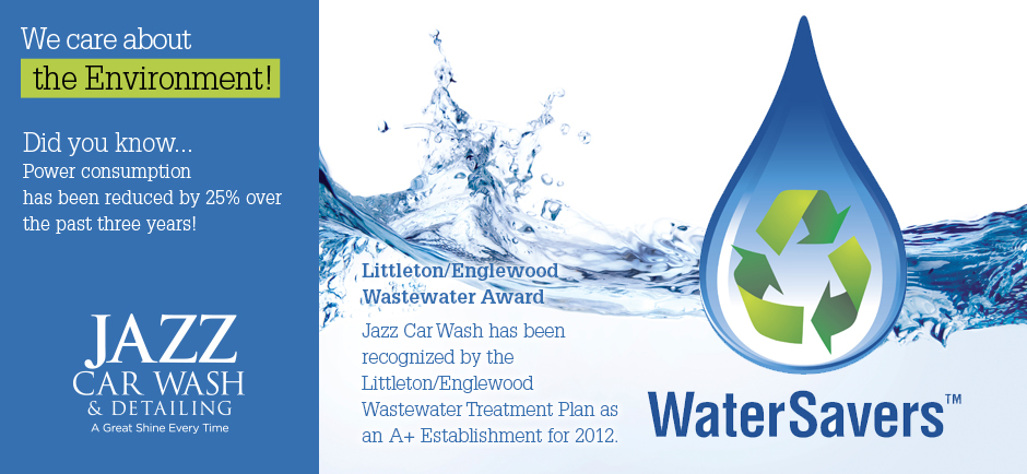 We care about the environment. Power consumption has been reduced by 25% over the past 3 years. We are proud to receive Littleton, Co and Englewood, CO's Waste Water Award. We have been recognized by the Littleton / Englewood Wastewater Treatment Plan as A+ for 2012.